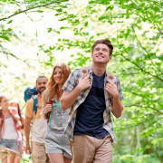 adventure, travel, tourism, hike and people concept - group of s